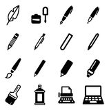 Writing Tools Icons Stock Image