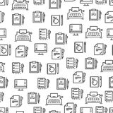 Writing tools line seamless pattern - creative background design Vector Illustration