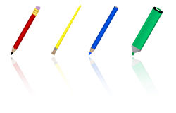 Writing tools. Writing and painting tools on white background with reflection Royalty Free Stock Images