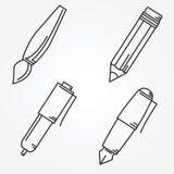 Writing tools. Pencil, pen, fountain pen, brush,  ballpoint. Royalty Free Stock Photo