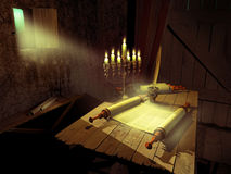 Writing the Torah. Antique Torah scrolls on a table into a little room, illuminated by a jewish chandelier and the moonlight entering by an opened window Royalty Free Stock Photography