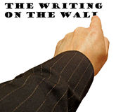 Writing on wall finger. Photo of finger writing on wall concept ideal for your own text etc Stock Image