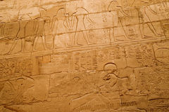 Writing on walls of ancient Luxor. Inscriptions on walls in ancient Egyptian city of Luxor (Karnak Royalty Free Stock Photography