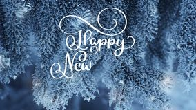 Writing white Happy New Year animation calligraphy lettering text on snow fir tree background. Animation. Christmas. Greeting card. Happy feeling stock video footage