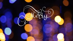 Writing white Merry Christmas animation calligraphy lettering text on dark blue with bokhe background. 3D For Greeting stock video