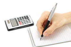 Writing woman hand in notepad Royalty Free Stock Photography