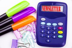 Writing word Subscribe Newsletter text in the office with surroundings such as marker, pen writing on calculator. Business concept. For Internet Online Stock Images