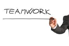 Writing word Teamwork on virtual screen Stock Photos