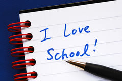 Writing the words I love School Stock Photography