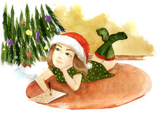 Writing xmas wish list. Cute girl writing xmas wish list (Rkl painting stock illustration