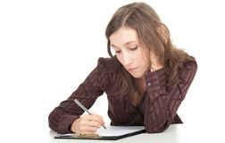 Writing young woman Stock Photography