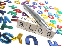 Writing your own blog tilted to the right. Writing a blog is fun and interesting royalty free stock images