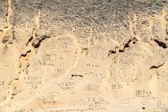 Writings made of stones. On La Guajira desert in Colombia royalty free stock photo