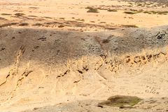 Writings made of stones. On La Guajira desert in Colombia stock image