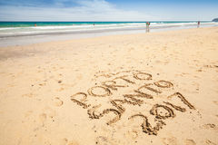 Writings on the sand. Beach of Porto Santo island Stock Photos