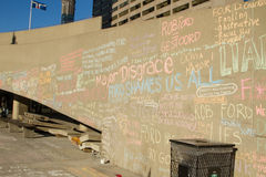 Writings on the Wall. TORONTO – NOVEMBER 13 - Writings on the wall at Nathan Phillips Square by people protesting against Mayor Rob Ford November 13, 2013 Stock Photos