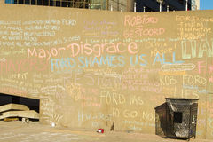 Writings on the Wall. TORONTO – NOVEMBER 13 - Writings on the wall outside at Nathan Phillips Square by people protesting against Mayor Rob Ford November 13 Stock Photos