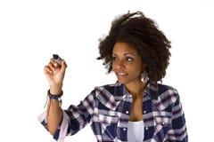 Writng da mulher algo sumário na tela Foto de Stock