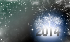2014 written on abstract background. With snowflakes stars and fireworks Royalty Free Stock Image