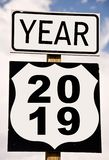 2019 written on american roadsign. Year 2019 written on american roadsign stock photography