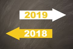 New year 2019 on the blackboard royalty free stock photos