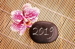 2019 written on a black pebble with pink orchid. Zen greeting card royalty free stock images