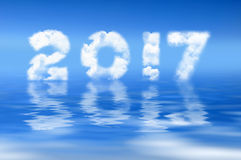 2017 written with clouds, water reflection Stock Photo