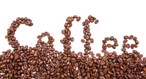 Written coffee with coffee beans Royalty Free Stock Images