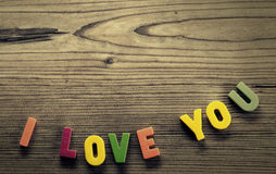 Written in colorful letters : I love you Stock Photo
