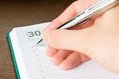 Written in the diary event Royalty Free Stock Images