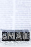 Written email in lead letters Stock Photo