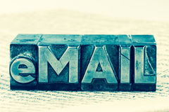 Written email in lead letters Royalty Free Stock Photos