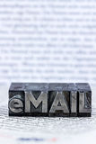 Written email in lead letters stock photography
