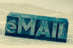 Written email in lead letters Royalty Free Stock Images