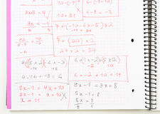 Written Equations/Math Problems on a Notebook Royalty Free Stock Photo