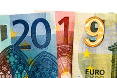 2019 written with euros bank notes. CLose up on 2019 written with euros bank notes stock photos