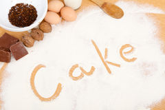 Written in flour - cake Stock Photography