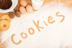 Written in flour - cookies Royalty Free Stock Photos