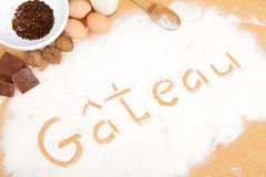 Written in flour - gateau Stock Photos