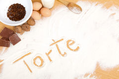 Written in flour - torte Royalty Free Stock Images