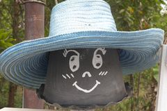 Written on a flower pot hat, decorate the garden. Stock Image