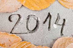 2014 written on frost Royalty Free Stock Photography