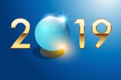 Greeting card 2019 with a crystal ball to symbolize the forecast of the future. 2019 is written in gilded numbers on a blue background with a crystal ball royalty free illustration