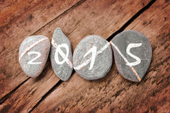 2015 written on a lign of stones Stock Image