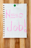 Written message Need Job on the wooden board as background Royalty Free Stock Images