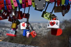 Padlocks in a tower Royalty Free Stock Photo