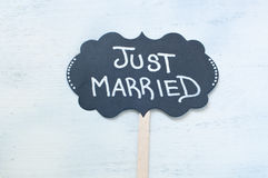 Written nice usable during the holidays:just married Royalty Free Stock Photos