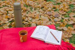 A written notebook on a red plaid. A written notebook. Tea from a thermos during a picnic. A cup on a red plaid. Make notes. Write a script. Inspiration in the Stock Photography