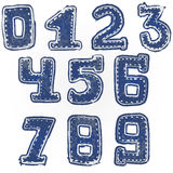 Written numbers 0-9 hand drawn sketch denim style Royalty Free Stock Photo