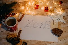 2018 written on paper. top view of Christmas and new year decorat Royalty Free Stock Image